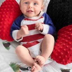 Zestaw na chrzciny lub baby shower: Kocyk + Rogal + Duża Kostka Kontrastowa