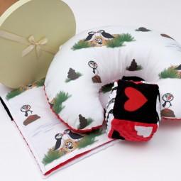 Zestaw na chrzciny lub baby shower: Kocyk Newborn + Rogal + Duża kostka kontrastowa