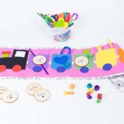 """Tęczowy Pociąg """"Simple&Fun"""" - Nauka kolorów, kategoryzacji, sortowania - RÓŻOWY"""
