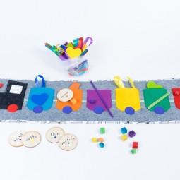"""Tęczowy Pociąg """"More&More"""" - Nauka kolorów, kategoryzacji, sortowania - SZARY"""