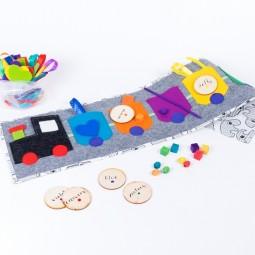 """Tęczowy Pociąg """"Simple&Fun"""" - Nauka kolorów, kategoryzacji, sortowania - SZARY"""